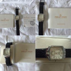 Philip Stein Classic Square Diamond Quartz Watch